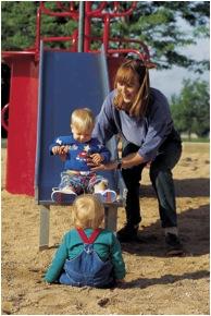family on slide