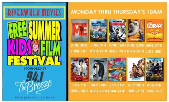 riverwalk movies free summer kids film festival 2014