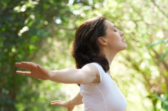 mindful peaceful woman in sunshine