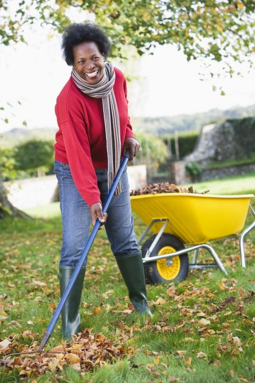 woman racking leaves