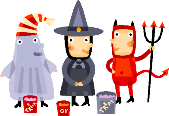 halloween trick or treaters animated