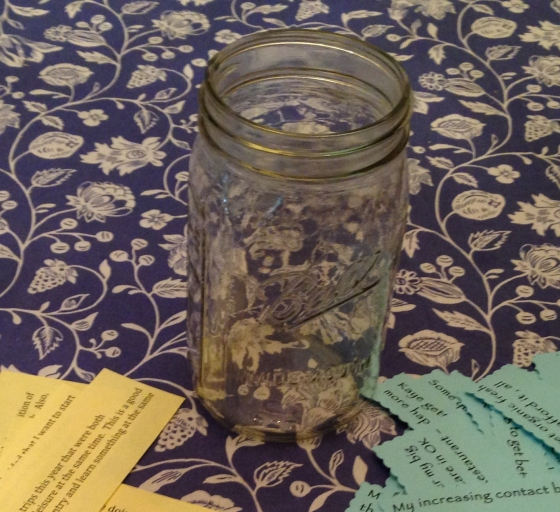 blessing jar 2014 prep with strips of paper