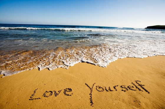 love yourself on a beach
