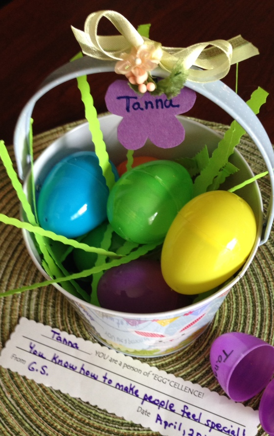 eggcellent basket, small one with flower shape at top, close up of message