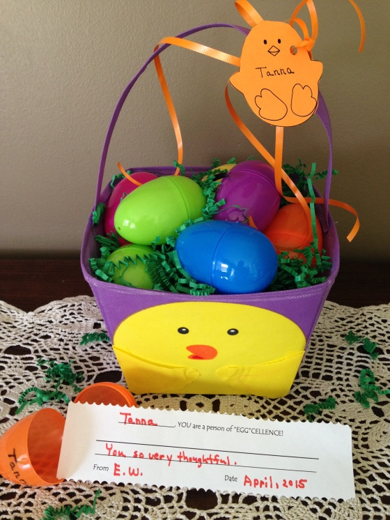 eggcellent chick basket with message