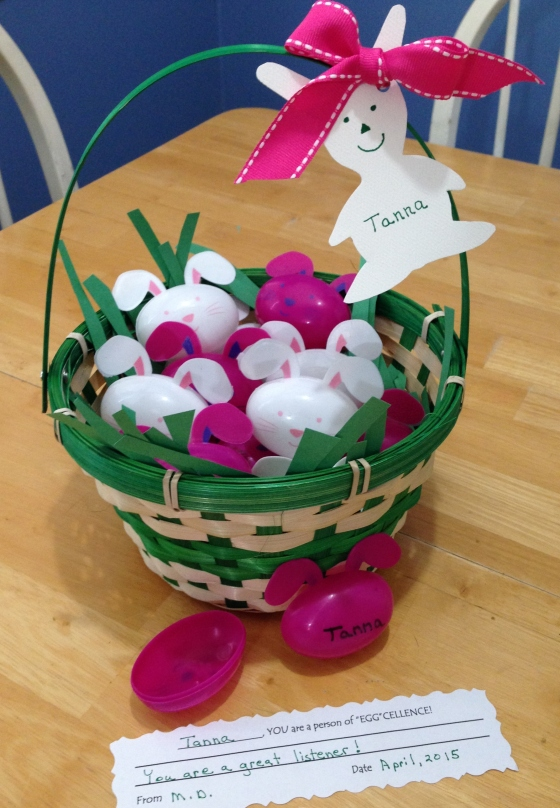 eggcellent the very last with egg in correct poistion green basket bunney last entry