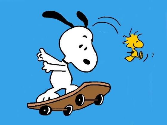 snoopy and bird playing on skateboard happy