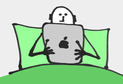 laptop and person in bed