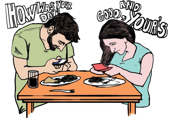 texting at the dinner table color animated