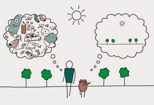 mindful animated man with lots thoughts and dog with simple thoughts